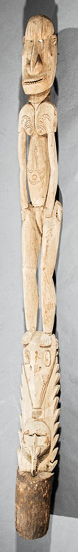Oceanic Carved Wood Figural Post