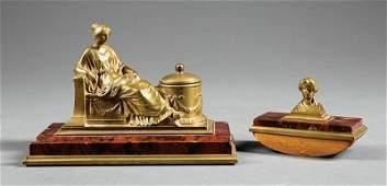 Austrian Bronze Marble Figural Two Piece Desk Set