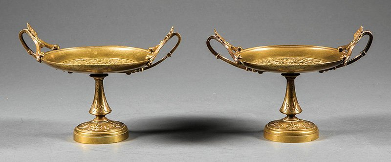 Pair of French Bronze Kylix-Form Tazzas