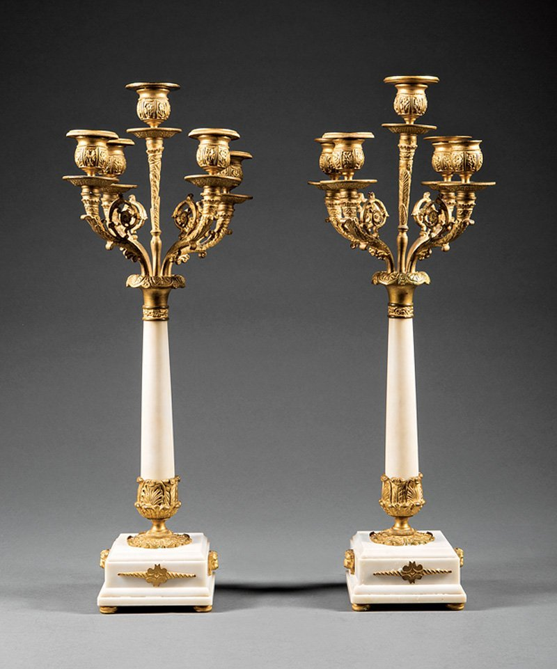 French Neoclassical Gilt Bronze Marble Candelabra