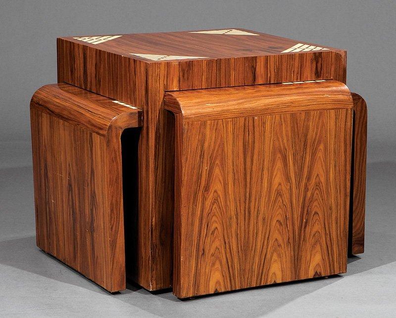 Inlaid Rosewood Nesting Quartetto Tables