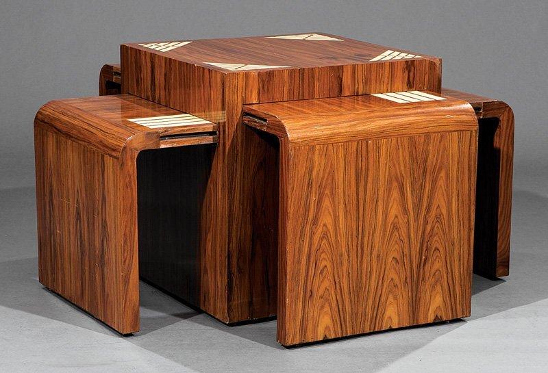Inlaid Rosewood Nesting Quartetto Tables - 2