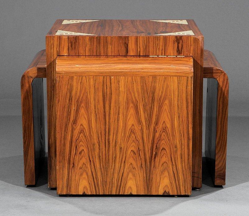 Inlaid Rosewood Nesting Quartetto Tables - 3