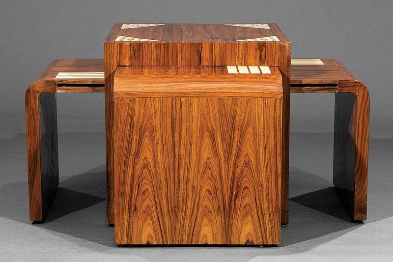 Inlaid Rosewood Nesting Quartetto Tables - 4