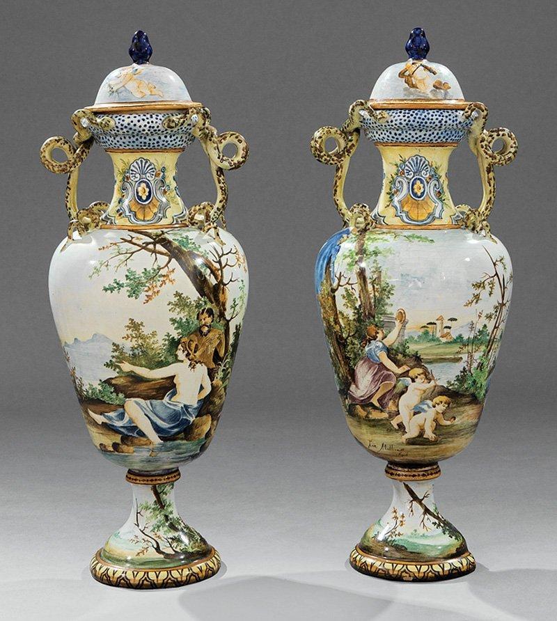 Pair of Italian Majolica Lidded Vases