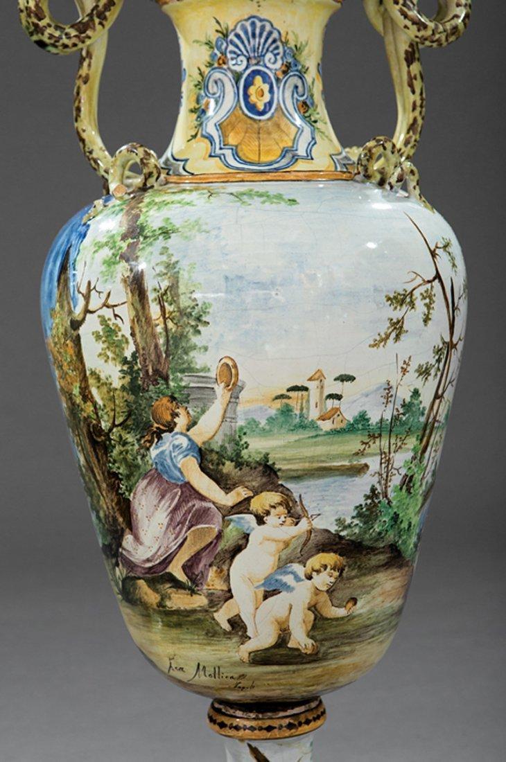 Pair of Italian Majolica Lidded Vases - 2