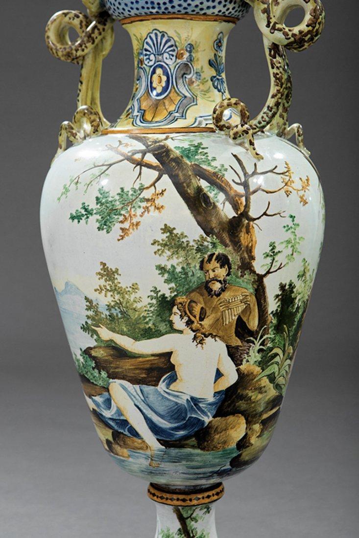 Pair of Italian Majolica Lidded Vases - 3