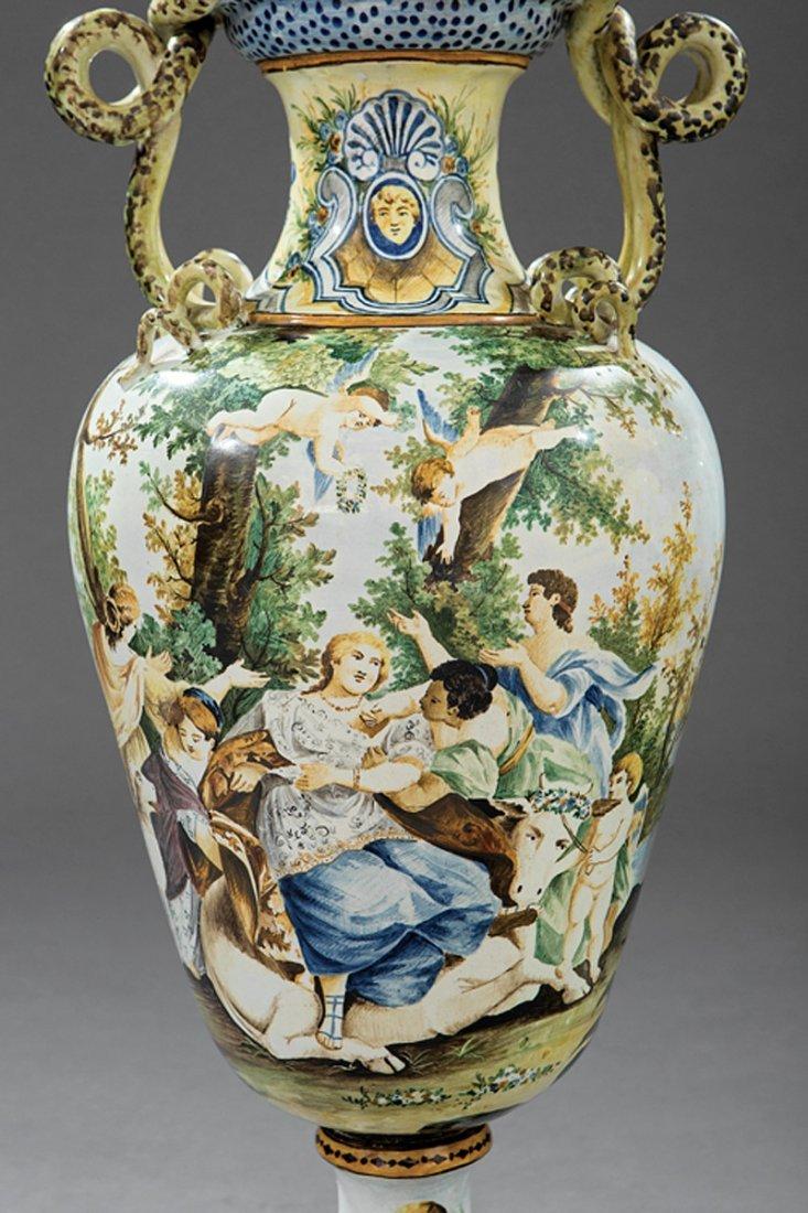 Pair of Italian Majolica Lidded Vases - 4