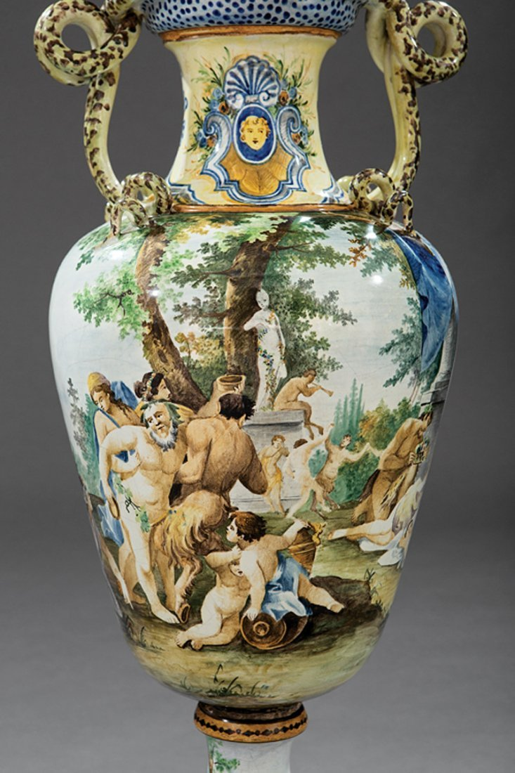 Pair of Italian Majolica Lidded Vases - 5