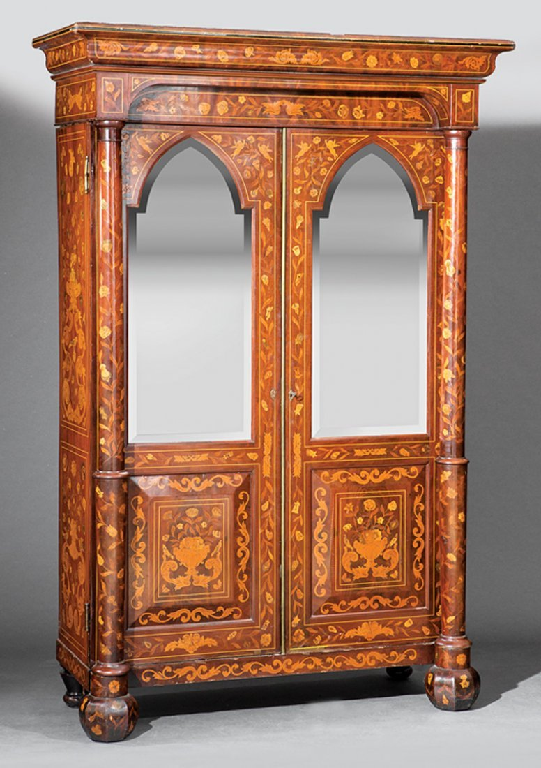 Dutch Marquetry and Mahogany Armoire