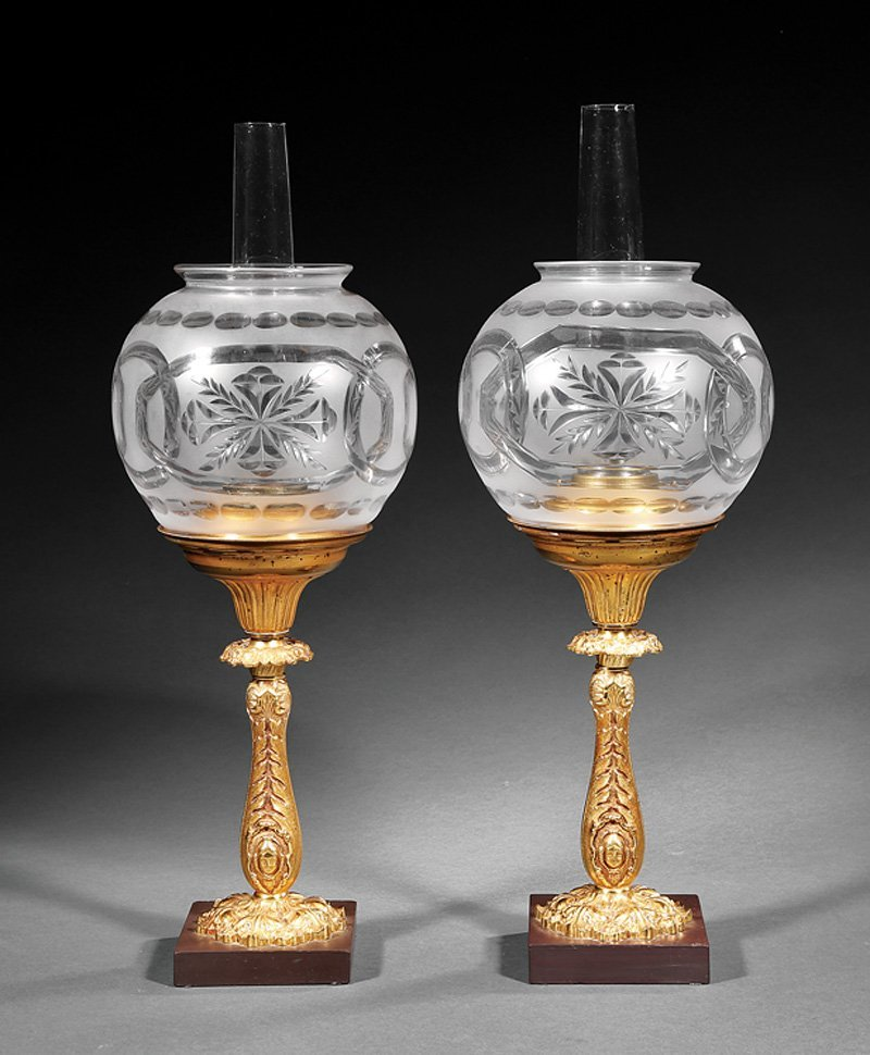 Pair of American Gilt Bronze Solar Lamps