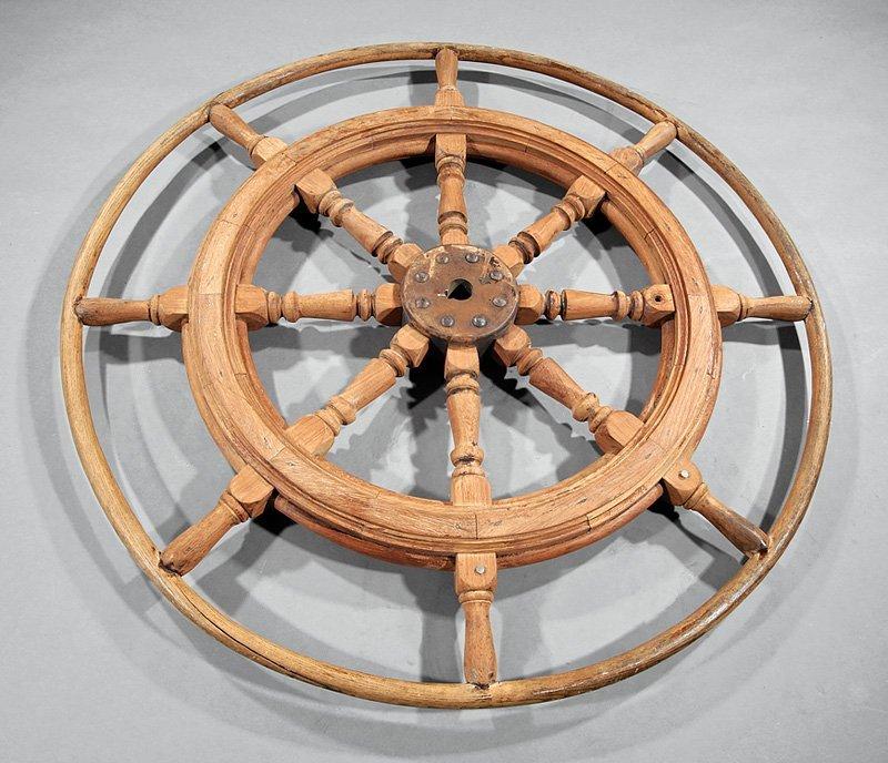 American Teakwood and Oak Ship's Wheel