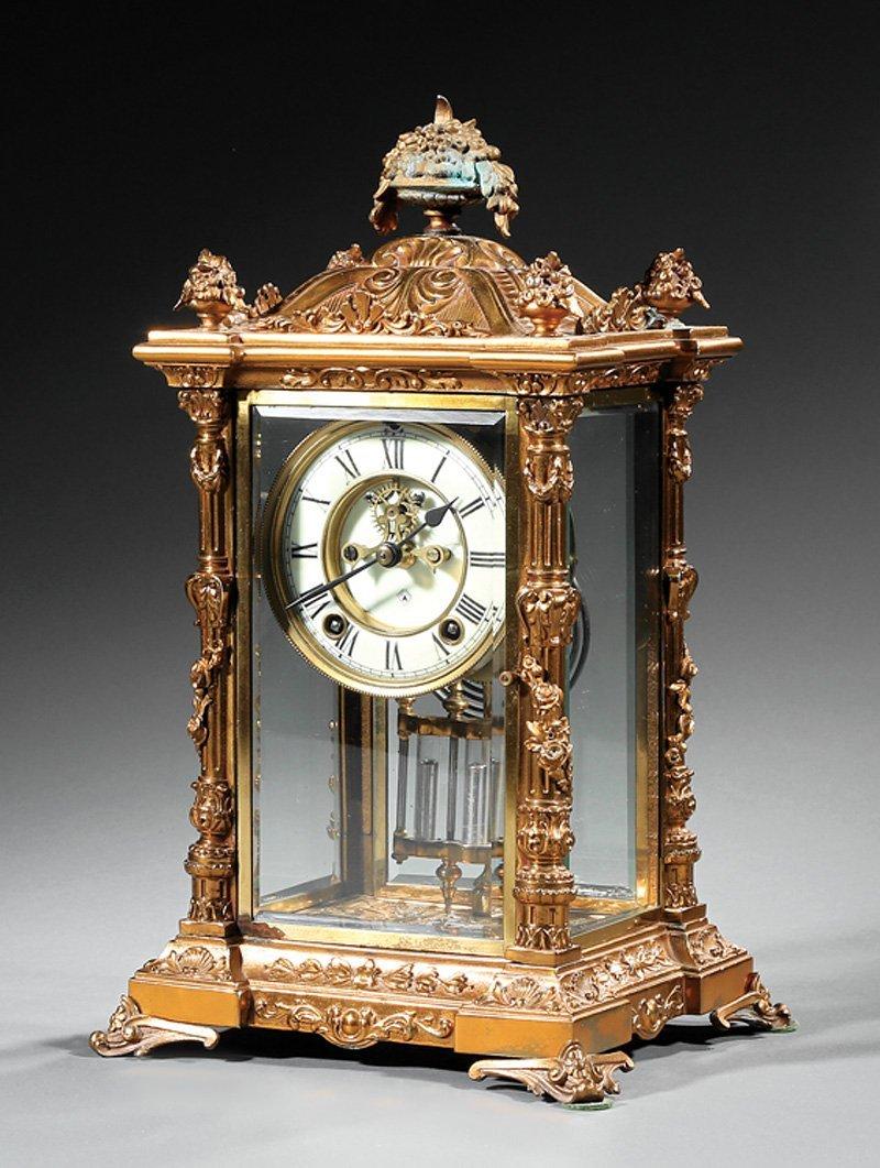 Ansonia Gilt Metal Crystal Regulator Clock