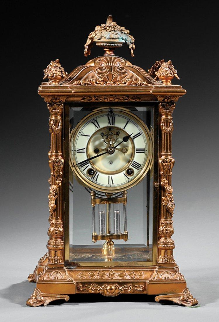Ansonia Gilt Metal Crystal Regulator Clock - 2