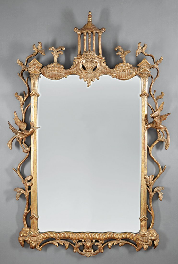 Chinese Chippendale-Style Carved Giltwood Mirror