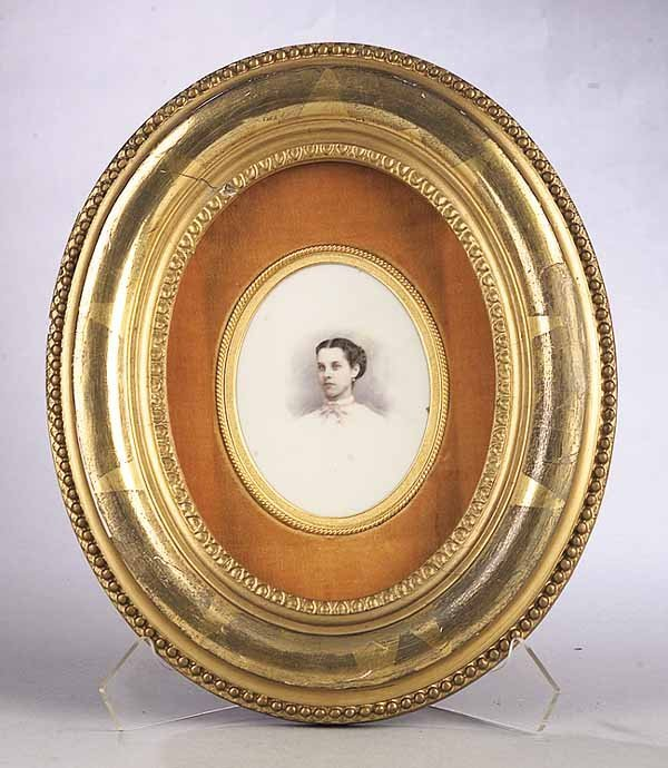 0008: Fine Miniature Portrait on Porcelain Plaque of a