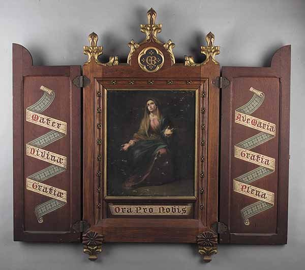 0009: Carved and Painted Tabernacle Triptych of Virgin
