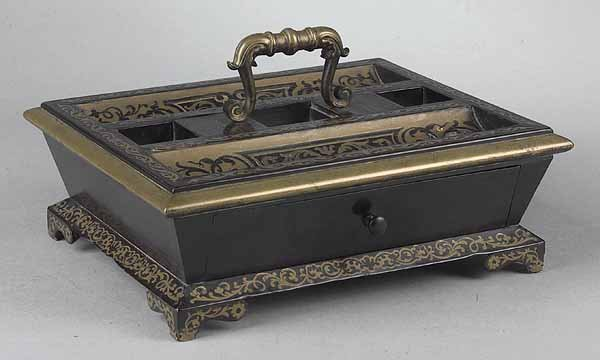 0010: Continental Ebonized and Brass Inlaid Standish