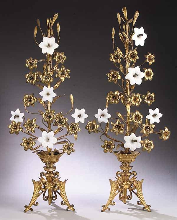 0013: Pair of Victorian Gilt Bronze, Ormolu, Opaline Gl