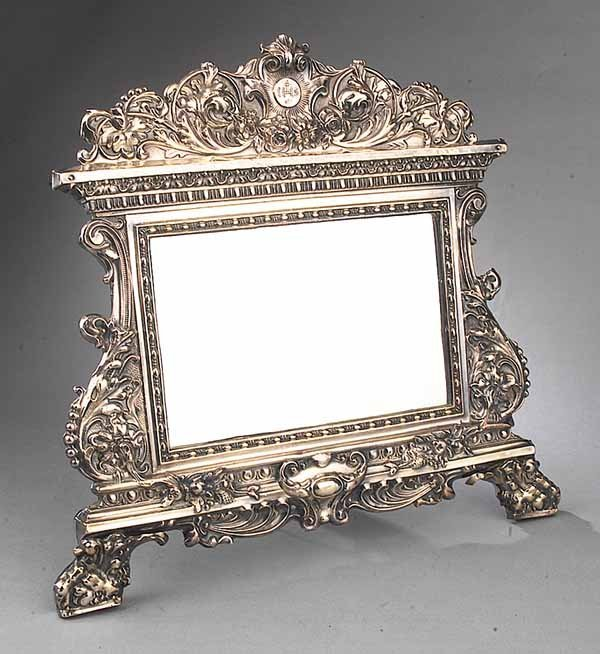 0017: Embossed Silver Dressing Mirror