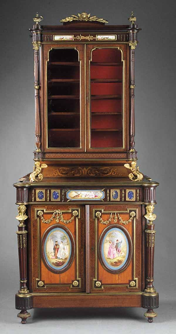 0052: Antique Ormolu Mounted Marquetry and Parquetry Es