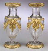0199 Pair of Antique French Gilt BronzeMounted Glass
