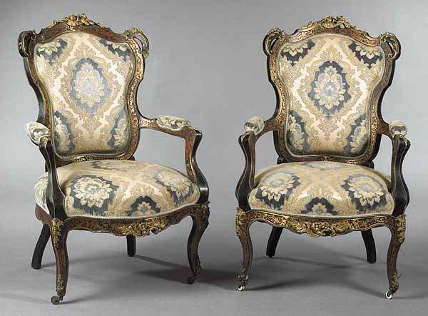 0332: Pair of Napoleon III Ormolu-Mounted Boullework Eb