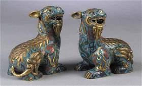 0547 Pair of Antique Chinese Brass Cloisonne Enamel C