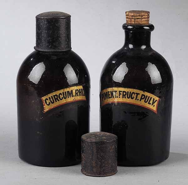 0575: Pair of English Blown Brown Glass Apothecary Jars