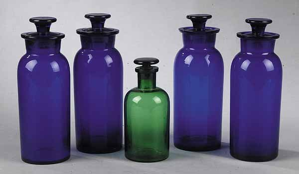 0576: Group of Five Antique Blown Glass Apothecary Jars