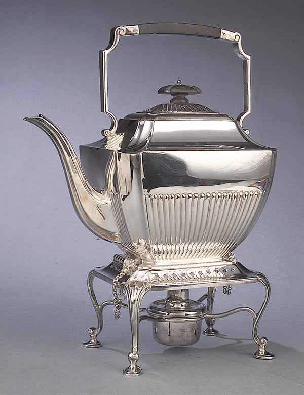 0580: Antique Silverplate Kettle on Stand, Atkin Brothr