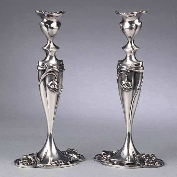 0589: Pair of Art Nouveau Silverplate Candlesticks, Mer