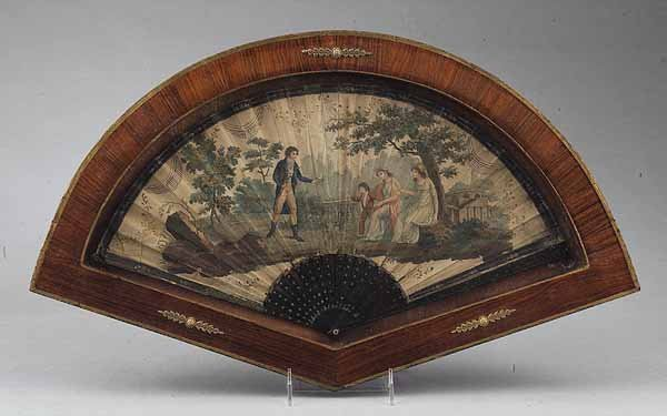 0595: French Printed and Painted Paper Fan, c. 1810