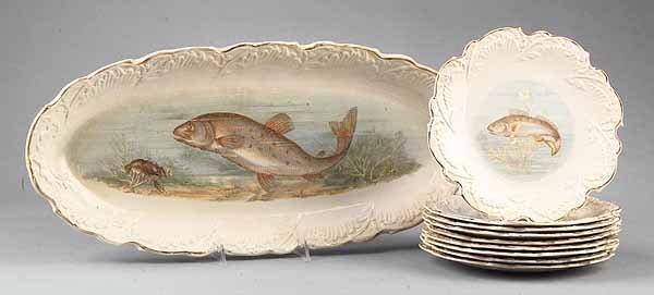 0596: Transfer Decorated Earthenware Fish Service, Empi