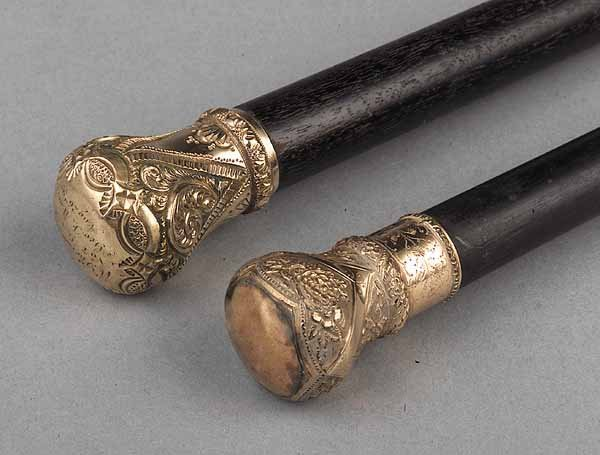 0597: Two Victorian Ebonized Walking Canes with Gold-Fi