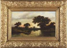"""0875: William Henry Buck, Oil on Panel, Signed, """"Bayou"""