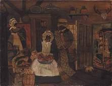 1118: American Folk School, Oil on Canvas, Unsigned