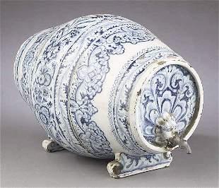 An Italian Blue and White Glazed Potte
