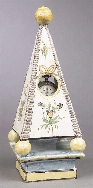 A French Faience Obelisk Watch Stand