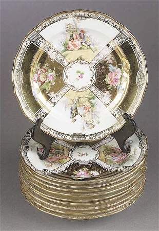 A Set of Ten Meissen Porcelain Luncheo