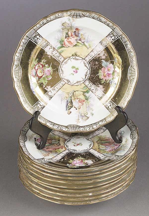 0013: A Set of Ten Meissen Porcelain Luncheo