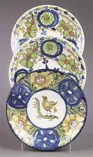 A Group of Three Continental Majolica