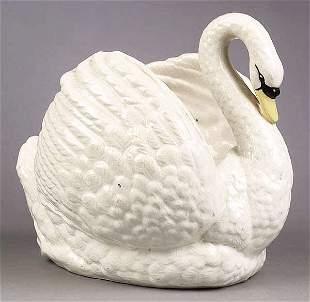 A Large English Staffordshire Swan Jar