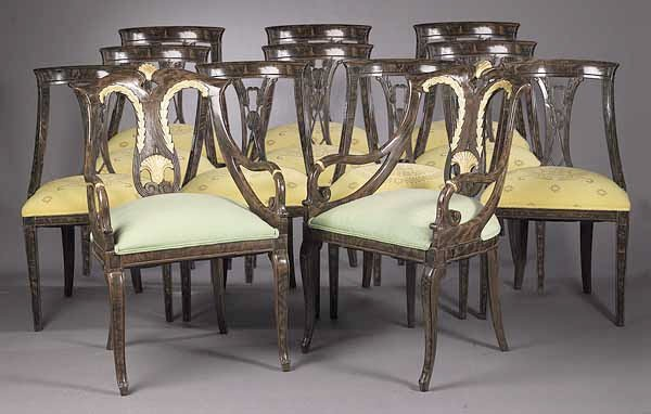 0024: A Set of Twelve Regency-Style Faux Boi