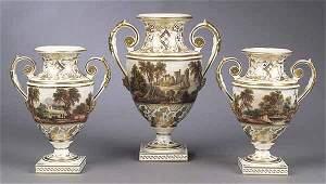 0385: A Derby Porcelain Three-Piece Garnitur