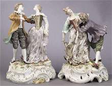 0910: A Pair of Volkstedt Porcelain Figural