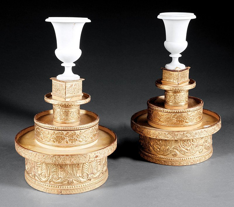 Pair of Cartonnage and Parian Table Stands
