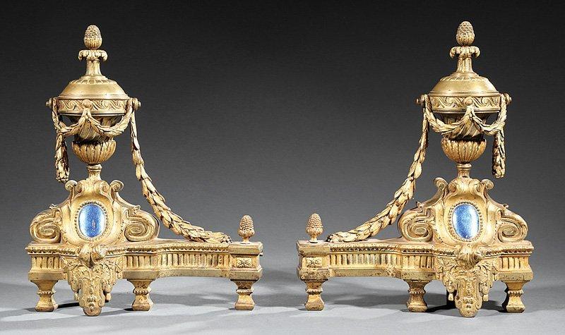 Louis XVI Gilt Bronze Urn-Shaped Chenets