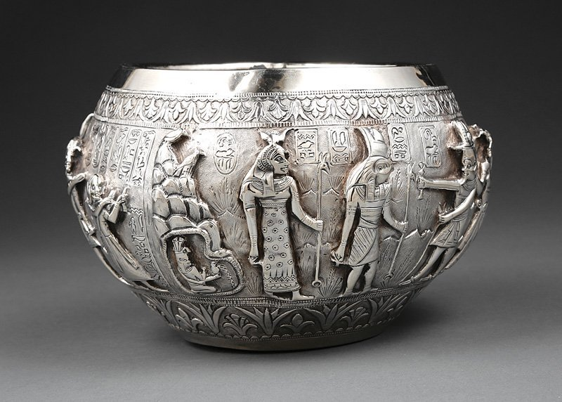 Egyptian Revival Chased Silver Bowl