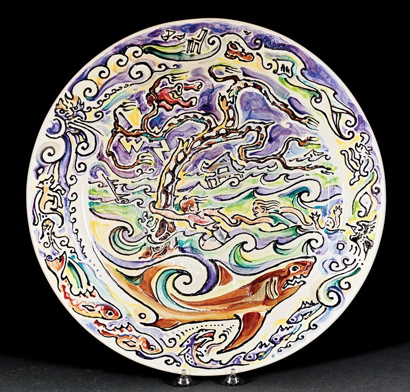 Large Shearwater Pottery Charger